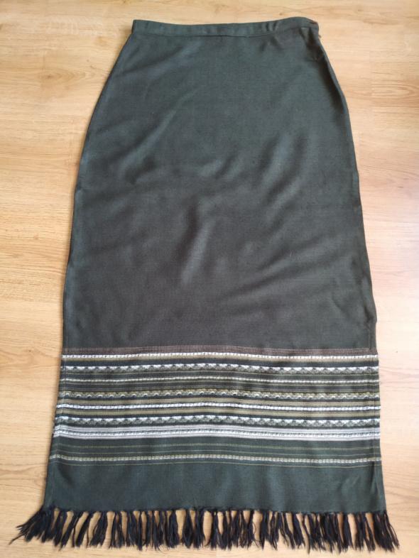 Spódnica etno frędzle khaki KALI M...