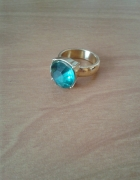 Nowy duży pierścionek sygnet złoty kolor miętowy kamień H&M 11 16mm