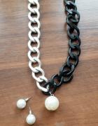 naszyjnik i kolczyki czarno srebrny
