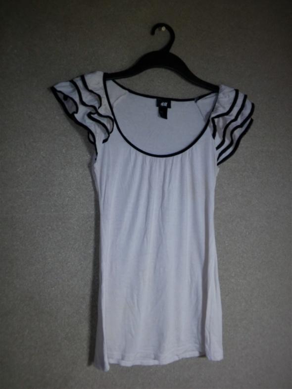 Beżowa nude bluzka falbanki na rękawach 34 H&M