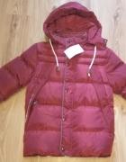 Nowa bordowa bardzo ciepła z futerkiem zimowa chłopięca kurtka ...