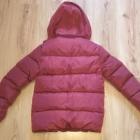 Nowa bordowa bardzo ciepła z futerkiem zimowa chłopięca kurtka 146 152