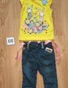 Nowy komplet bluzka żółta króliczki i spodnie jeansowe na szelkach 68