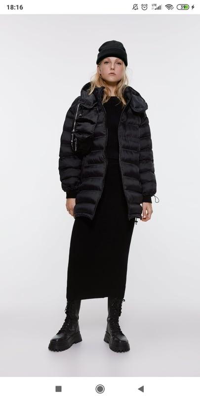 Odzież wierzchnia ZARA kurtka pikowana czarna długa L 40