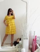 Żółta sukienka H&M z paskiem