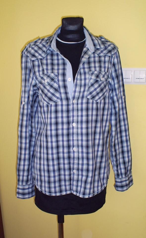 Koszula niebieskogranatowa z wywijanymi rękawami