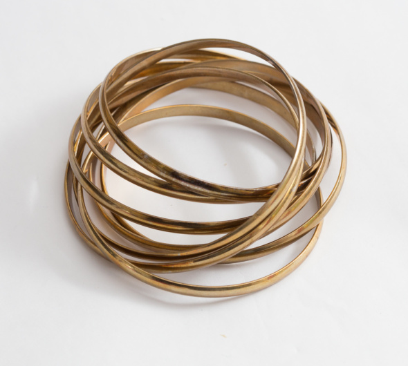 Złote metalowe bransoletki vintage