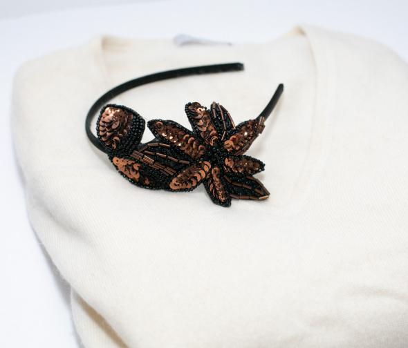 Ozdoby na włosy Opaska na włosy glowe retro vintage cekiny kwiaty wianek