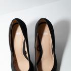 36 Nowe Czarne szpilki buty na wysokim obcasie zamszowe welurowe