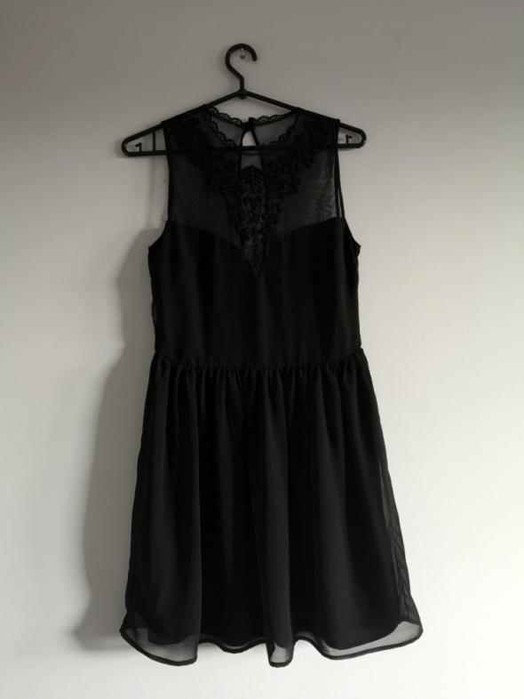 czarna sukienka koronka S M L cekiny lace kryształki ZARA boho