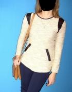 sweter skórzane wstawki błyszcząca nić