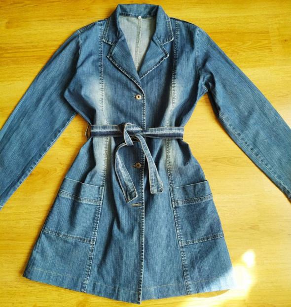 Wiosenny płaszcz jeans jeansowy Stanley 40 L...