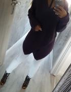 sweterek fioletowy oversize asymetryczny...