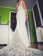 piękna suknia ślubna syrenka z trenem koronka kość słoniowa 36