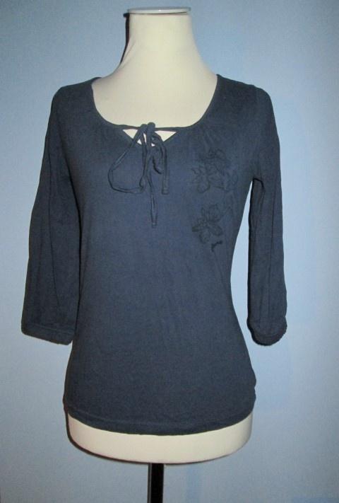 Granatowa wiązana bluzka