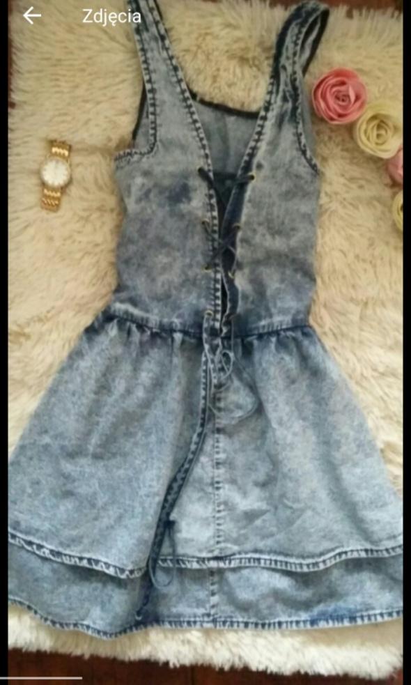 Sukienka jeansowa niebieska krótka wiązana wiązania xs xxs top shop