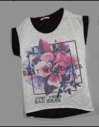 bluzka biała czarna L XL kwiaty tshirt zara nowa