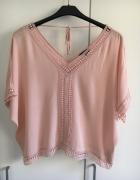 bluzka koszulka koronka new look wiązanie blady róż