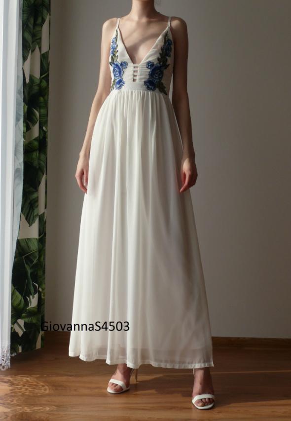 Sukienka biała maxi biel hafty w kwiaty haftowana Asos 34 XS fl...