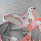 HM komplet sportowy legginsy crop top biustonosz kwiaty wzory