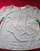Bodyflirt modna bluzka w paski ozdobne perełki 44 2xl...