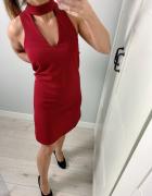 New look sukienka czoker M bordowa...