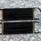 Czarna ze złotą lamówkę maseczka ochronna bawełniana dwuwarstwowa certyfikat