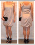 sukienka bezowa H&M rozmiar S