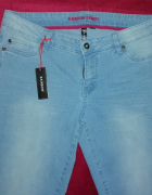 Rainbow spodnie jeansy niebieskie skinny 42 xl...