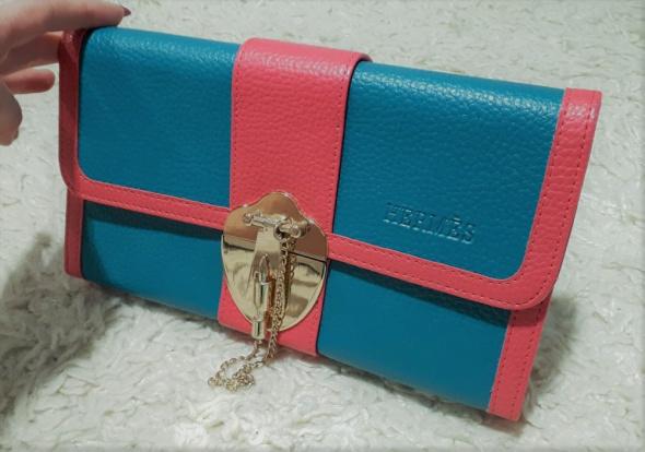 Śliczna turkusowo różowa torebka kopertówka