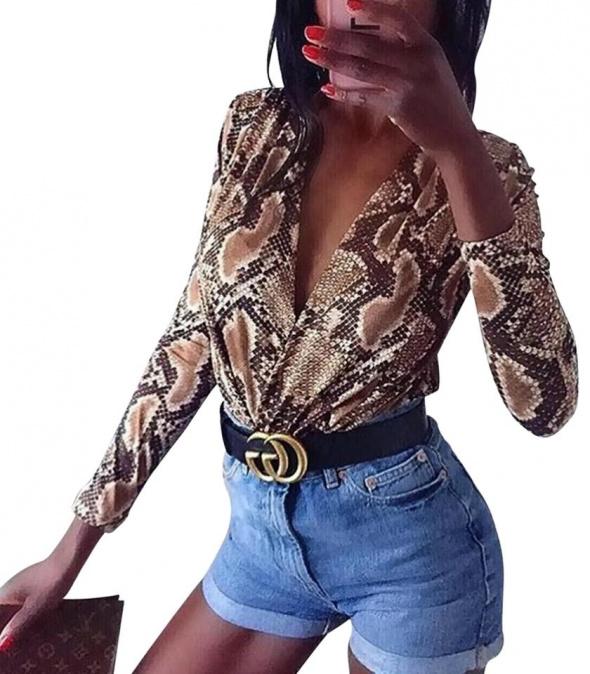 Bluzki body zara wąż snake leopard 40 L sexy nowe długi rękaw dekold