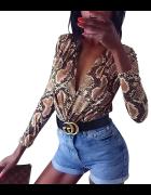body zara wąż snake leopard 40 L sexy nowe długi rękaw dekold...