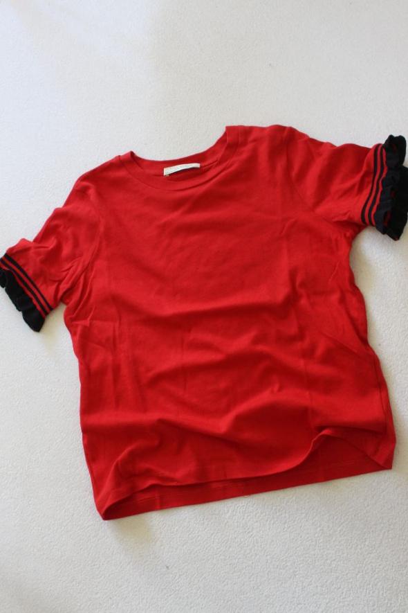 czerwona bawełniana koszulka zara s