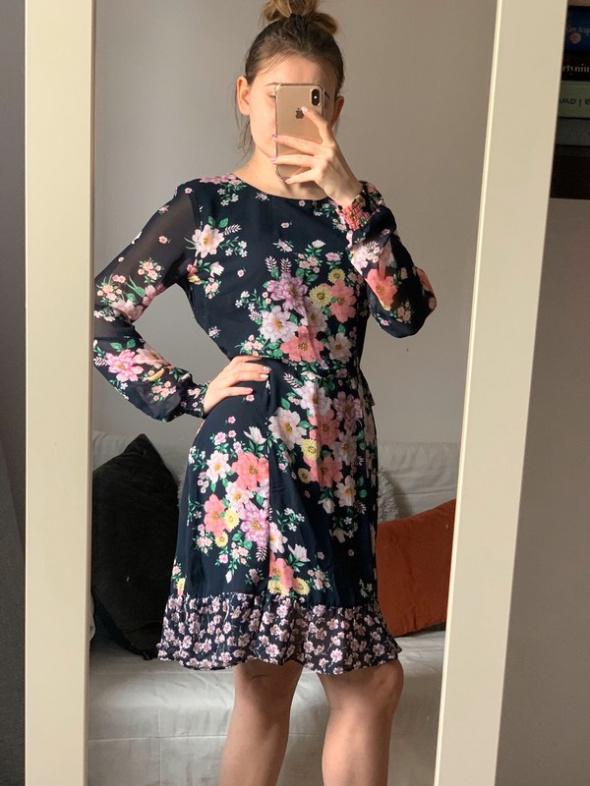 Dziewczęca Sukienka floral odkryte plecy H&M S M...