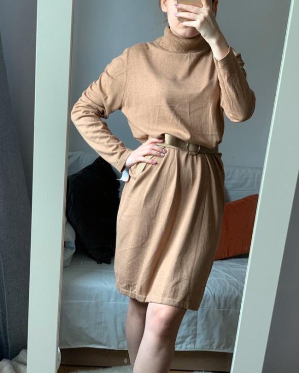 Sweterek tunika golf bezowy sukienka M L XL...