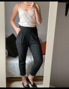 Pasiaste spodnie wysoki stan materiałowe cygaretki M L...