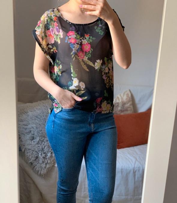 Prześwitująca bluzka floral w kwiaty top Cubus oversize...
