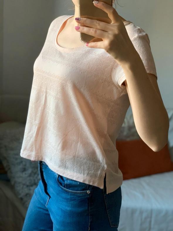 Top tshirt H&M XS S pudrowy róż azteckie wzory wzorki
