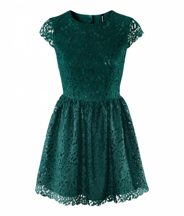 Koronkowa Zielona sukienka h&m 36