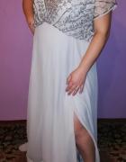 Piękna wieczorowa długa suknia błękitna cekiny 46 48...
