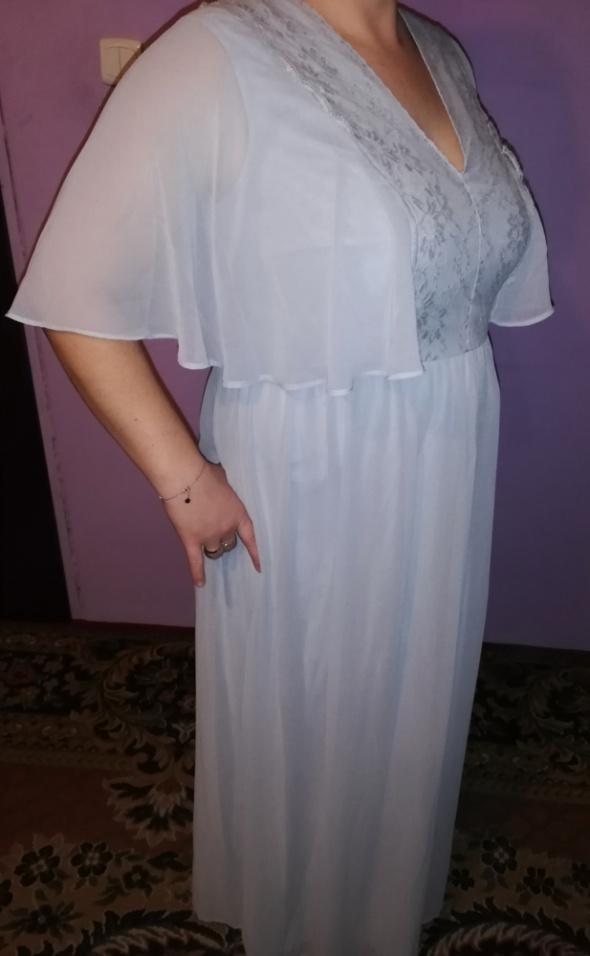Piękna wieczorowa długa suknia błękitna haft 46 48