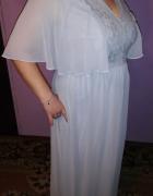 Piękna wieczorowa długa suknia błękitna haft 46 48...