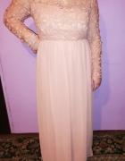 Piękna wieczorowa długa suknia pudrowy róż Gipiura 46 48...