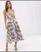 Sukienka nowa Asos midi kwiaty bzu guziki na plecach szyfonowa...
