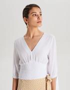 Nowa biała bluzka Cropp M 38 crop top ściągacz krótka dekolt V ...