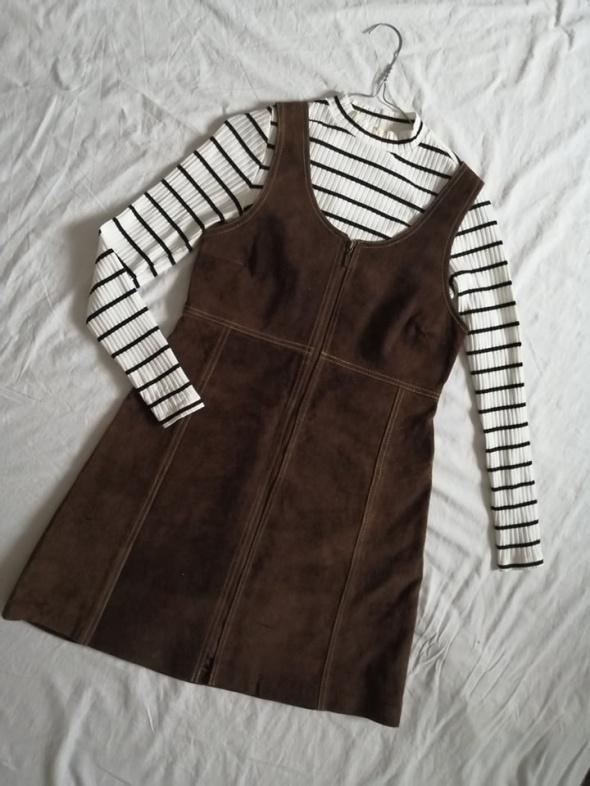 skórzana zamszowa sukienka z zipem zamkiem ogrodniczka skóra na...