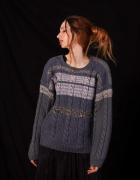 sweter uniseks męski damski włóczka niebieski unikatowy