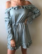 NOWA sukienka boho z frędzelkami turkusowa rozm M