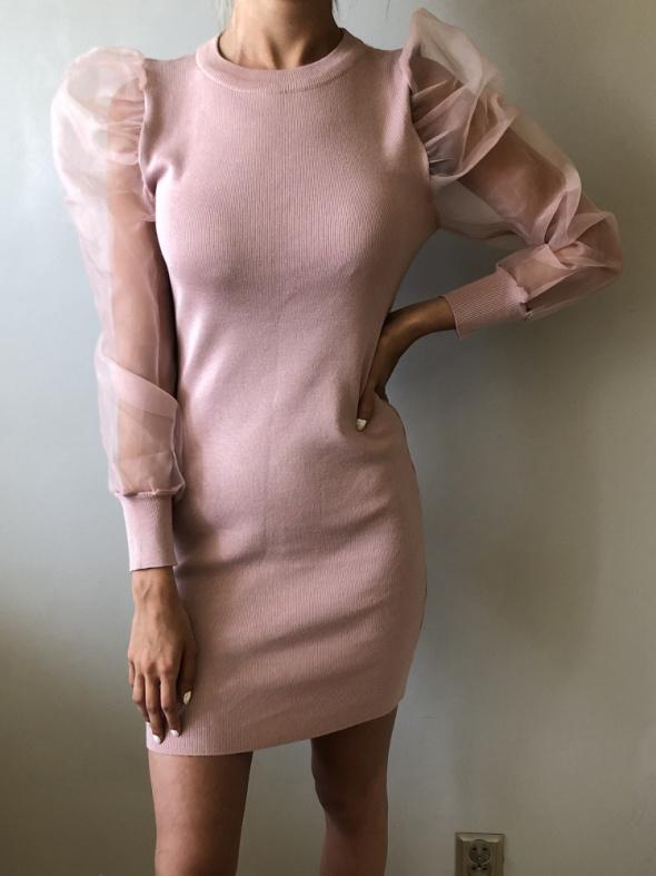 NOWA sukienka z rękawami z organzy różowa rozm S