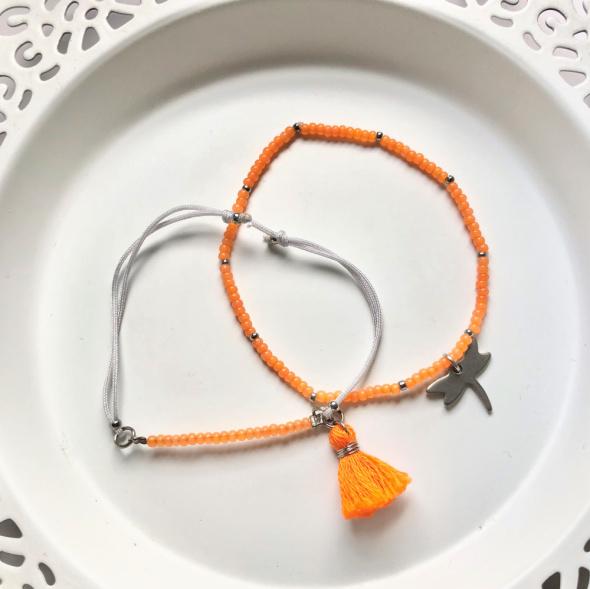 Bransoletki Komplet 2 bransoletek szary pomarańczowy koraliki sznurek chwost